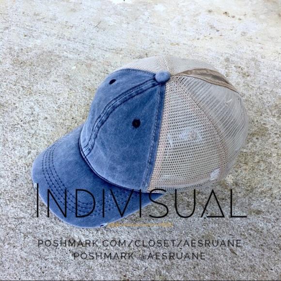 8922d95135a85 High ponytail top bun mesh denim distressed cap